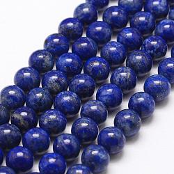 Natural Lapis Lazuli Bead Strands, Round, 10mm, Hole: 1mm; about 38pcs/strand, 15.5inches(395mm)