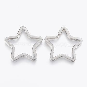 304 Stainless Steel Split Key Rings, Keychain Clasp Findings, Star, Stainless Steel Color, 34x35x3mm, Inner Diameter: 30x24mm(X-STAS-P197-036P)