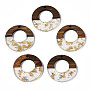 Clear Flat Round Resin+Wood Pendants(RESI-S389-036A-B05)