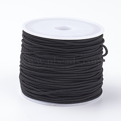 Elastic Cords, Stretchy String, for Bracelets, Necklaces, Jewelry Making, Black, 1mm; 18~20m/roll(EC-G008-1mm-02)