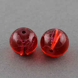 Drawbench Transparent Glass Beads Strands, Spray Painted, Round, FireBrick, 4mm; Hole: 1.1~1.3mm; about 200pcs/strand, 31.4inches(X-GLAD-Q012-4mm-15)