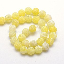 Natural Crackle Agate Beads Strands, Dyed, Round, Grade A, Gold, 8mm, Hole: 1mm; about 50pcs/strand, 14inches