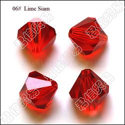 Perles d'imitation cristal autrichien, grade AAA, facette, Toupie, rouge, 4x4mm, Trou: 0.7~0.9mm(SWAR-F022-4x4mm-227)