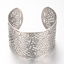 304 Stainless Steel Filigree Cuff Bangles, Wide Band Bangles, Stainless Steel Color, 2-1/4 inches(55mm)