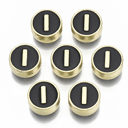 Alloy Enamel Beads, Cadmium Free & Nickel Free & Lead Free, Flat Round with Initial Letters, Light Gold, Letter.I, 8x4mm, Hole: 1.5mm(X-ENAM-S122-028I-NR)
