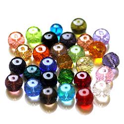 imitation perles de cristal autrichien, AAA grade, facettes, tambour, couleur mélangée, 8x6.5 mm, trou: 0.7~0.9 mm(SWAR-F064-8x6mm-M)