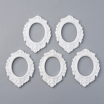Resin Cabochon Settings, Open Back Bezel, Oval, White, Tray: 37x30mm; 72x54x5.5mm(X-RESI-R429-34)