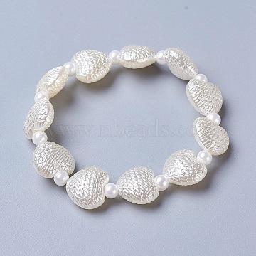Opaque ABS Plastic Imitation Pearl Stretch Kids Bracelets, Heart, White, 1-3/4 inches(4.6cm)(BJEW-JB04197)