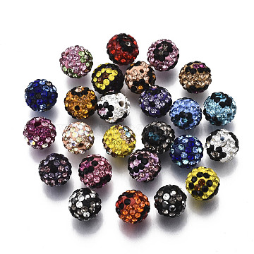 Polymer Clay Rhinestone Beads, Pave Disco Ball Beads, Round, Mixed Color, PP13(1.9~2mm), 6 Rows Rhinestone; 10mm, Hole: 1.5mm(RB-N051-013)