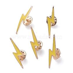 легкосплавные броши, с эмалью, железные булавки и латунные клатчи, молния, золотой, золото, 32.6x7.9x12.3 mm, контактный: 1.1 mm(JEWB-I012-12)