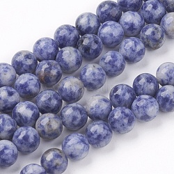 Natural Blue Spot Jasper Bead Strands, Round, 8mm, Hole: 1mm; about 53pcs/strand, 15.7inches(G-R193-15-8mm)