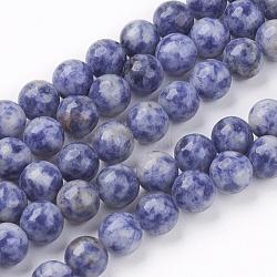 натуральные голубые пятна нитей яшмы, вокруг, 8 mm, отверстия: 1 mm; о 53 шт / прядь, 15.7(G-R193-15-8mm)