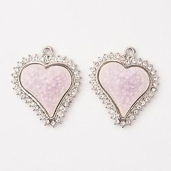 Pendentifs en porcelaine alliage cœur, avec des strass, platine, lavenderblush, 39x34x5.5mm, Trou: 2mm(PALLOY-L192-07P)