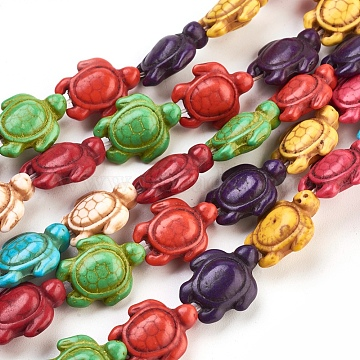 Synthetic Magnesite Beads, Dyed, Tortoise, Mixed Color, 19x14x7.5mm, hole: 1mm,  15.2 inches, 23pcs/strand(X-TURQ-E007-14)