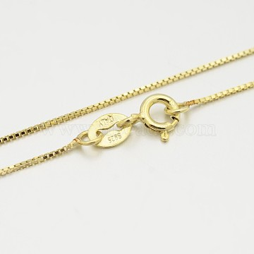 Sterling Silver Box Chain Necklaces, with Spring Ring Clasps, Thin Chain, Golden, 18inches, 0.6mm(X-STER-M086-03B)