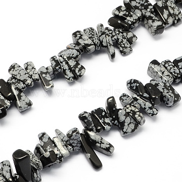 12mm Black Chip Snowflake Obsidian Beads