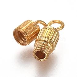 Brass Screw Clasps, Tube, Golden, 15mm, Hole: 1.8mm, Clasp: 8x3.5mm(X-KK-TAC0002-68B-G)