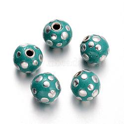 Perles rondes en Indonésie manuelles, lightseagreen, 13x14x15mm, Trou: 2.5mm(IPDL-O003-01B)