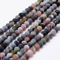Frosted Natural Agate Beads Strands, Round, Dyed & Heated, Black, 8mm, Hole: 1mm; about 48pcs/strand, 15.1