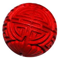 Cinnabar Beads, Carved Lacquerware, Round, Red, about 22mm in diameter, hole: 2mm(X-CARL-P041-1)