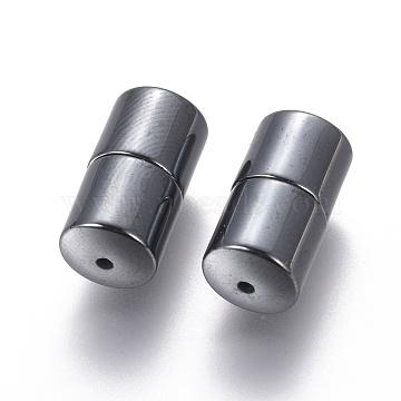 Magnetic Synthetic Hematite Screw Jewelry Clasps, Black, Gunmetal, 7.3x14.2mm(G-Q090-1)