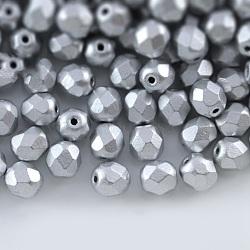 Perles de verre polies au feu tchèques, facette, tambour, gris clair, 6x6mm, trou: 1 mm; environ 37 pcs / 10 g(X-GLAA-F100-D02)