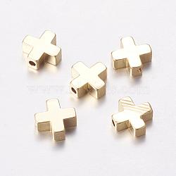 Perles en laiton, croix, véritable 18k plaqué or, 8x8x3mm, Trou: 1.4mm(KK-K182-01G)