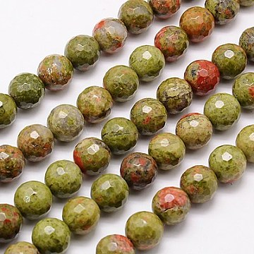 Natural Unakite Beads Strands, Faceted, Round, Olive Drab, 10mm, Hole: 1mm; about 38pcs/strand, 15.75 inches(G-G542-10mm-17)