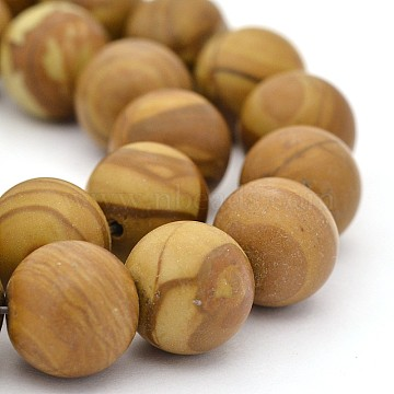 Natural Wood Lace Stone Round Bead Strands, 12mm, Hole: 1mm; about 33pcs/strand, 15.3inches(G-J276-06-12mm)