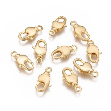 Brass Swivel Lobster Claw Clasps, Swivel Snap Hook, Long-Lasting Plated, Matte Gold Color, 17x9x3.5mm, Hole: 2mm(KK-K238-39MG-L)