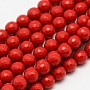 8mm Rouge Rond Turquoise Synthétique Perles(X-TURQ-G123-8mm-03)