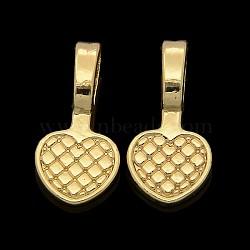 Balles plates à coller en alliage d'or sans nickel et sans plomb, plaqué longue durée, cœur, 20x10x6 mm, trou: 4x6 mm(PALLOY-J218-103G)