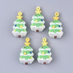 PVC Plastic Pendants, Christmas Tree, LimeGreen, 39x21x19mm, Hole: 2mm(SIL-T054-16)