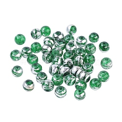 Drawbench perles de verre transparentes, rond, verte, 6mm, Trou: 1.4mm(GLAD-G002-6mm-01)