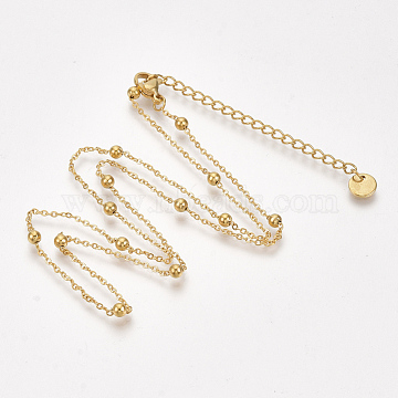 304 Stainless Steel Chain Necklaces, with Lobster Claw Clasp, Golden, 17.7 inches(45cm)(X-NJEW-S383-102G)
