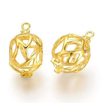 Brass Locket Pendants, Cage Pendants, Hollow, Golden, 19x11x13mm, Hole: 1.5mm; Inner Measure: 9x10mm(KK-S328-39)