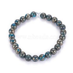 """Chapelets de perles de pyrite naturelle , teint, rond, dodgerblue, 8mm, trou: 1mm; environ 25 pcs/chapelet, 8""""(G-K181-8mm-H01)"""