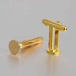 Bouton de manchette en laiton, boutons de manchette accessoires supports cabochons pour les accessoires de vêtements, or, 26x8mm, Plateau: 8 mm(KK-J184-34G)