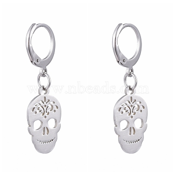 304 Stainless Steel Leverback Earrings, with 201 Stainless Steel Pendants, Skull, Stainless Steel Color, 34mm, Pin: 0.6x0.8mm(EJEW-JE04185-04)