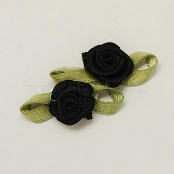 Handmade Woven Costume Accessories, Flower, Black, 11x24x6mm(X-WOVE-QS2003-5)