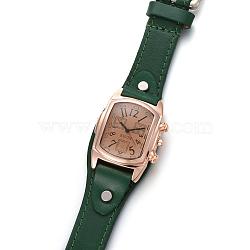 наручные часы высокого качества, кварцевые часы, Головка из сплава и ремешок из искусственной кожи, темно-зеленый, 9-1 / 2 / 9-7 8 см); (24.1~25.1 мм; головка часов: 19~20x3 мм(WACH-I017-10C)