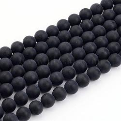 Natural Black Agate Bead Strands, Frosted, Round, 6mm, Hole: 1mm; about 65pcs/strand, 15.7inches