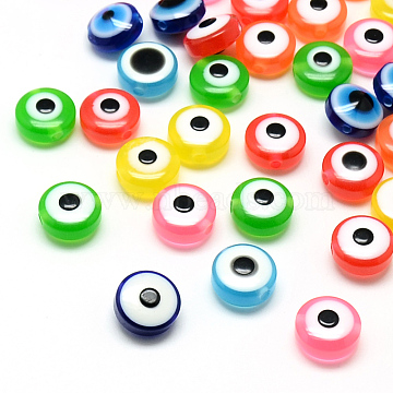 Resin Beads, Flat Round, Evil Eye, Mixed Color, 7.5~8x5~6mm, Hole: 1.8~2mm(X-RESI-S339-6x8-M)