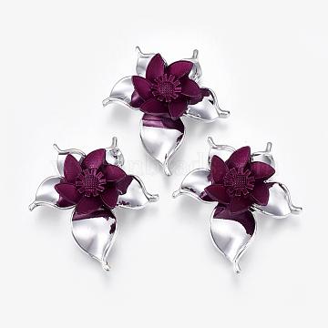 58mm Purple Flower Acrylic Connectors/Links