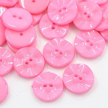 Acrylic Sewing Buttons, Plastic Buttons for Costume Design, 2-Hole, Dyed, Flat Round, Pink, 25x4mm, Hole: 2mm(BUTT-E073-A-08)
