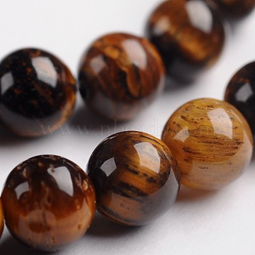 Round Natural Tiger Eye Gemstone Bead Strands, 6mm, Hole: 1mm, about 63pcs/strand, 14.9 inches(G-J333-03-6mm)