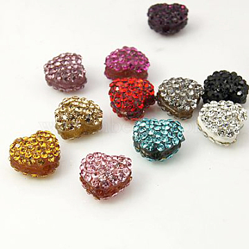 12mm Mixed Color Heart Resin + Rhinestone Beads