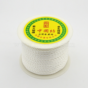 Round String Thread Polyester Fibre Cords, White, 3mm, about 28m/roll(OCOR-J002-06)