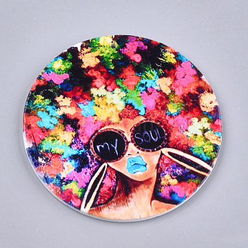 Printed Wooden Big Pendants, Dyed, Flat Round with Human Head, Colorful, 60x2.5mm, Hole: 1.5mm(X-WOOD-S048-25)