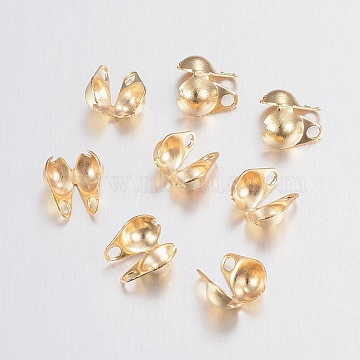 304 Stainless Steel Bead Tips, Calotte Ends, Clamshell Knot Cover, Golden, 6x4x3mm, Hole: 1mm, Inner Diameter: 3.5mm(STAS-G179-56G)